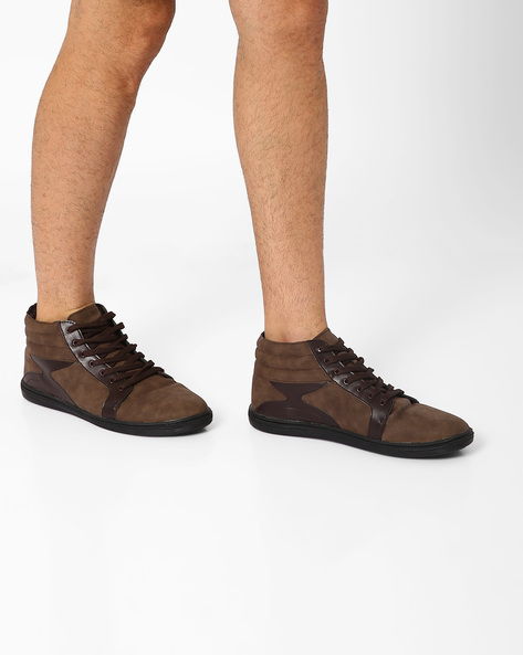 Mid-Top Sneakers With Brushed-Off Effect By FAMOZI ( Brown )