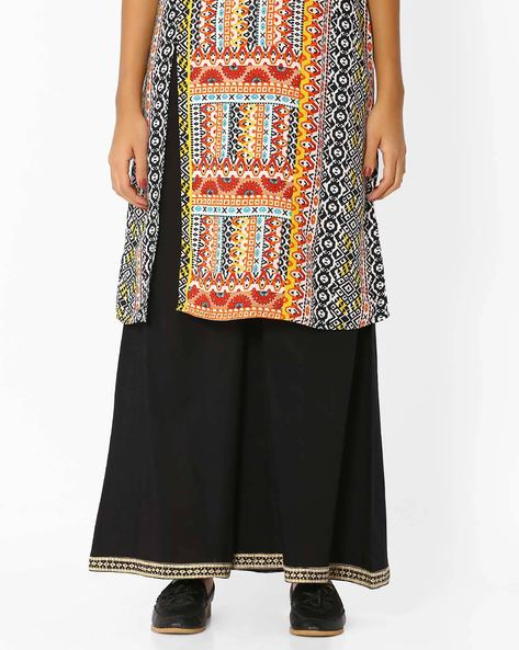 Mid-Rise Palazzos With Elasticated Waist By SIYAHI ( Black )