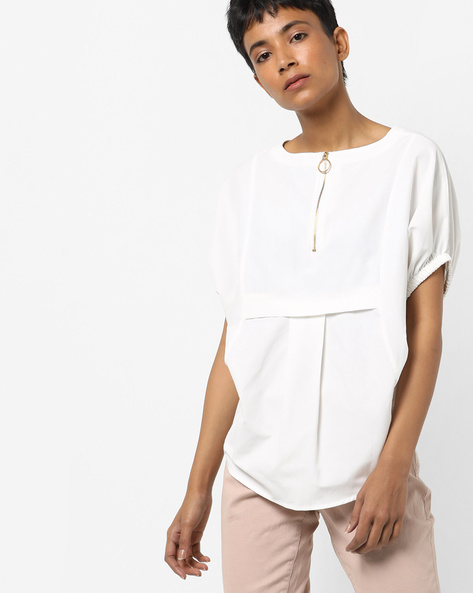 High-Low Top With Drop-Shoulder Sleeves By AJIO ( White )