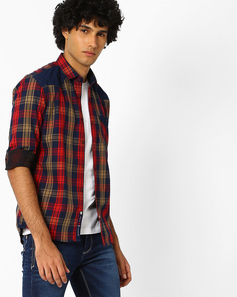 Checked Slim Fit Casual Shirt By Killer ( Red )