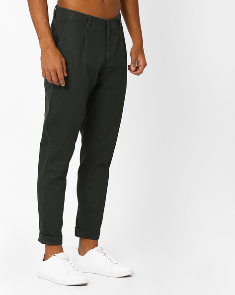 Tapered Fit Cropped Trousers By ANTIFERRO ( Darkgreen )