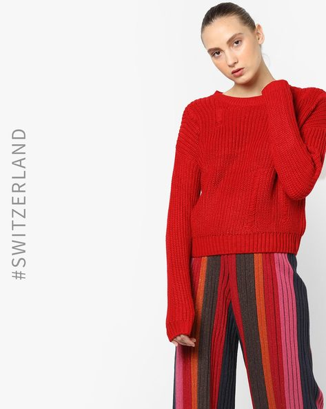 Crew-Neck Pullover With Ribbed Hemline By TALLY WEiJL ( Red )