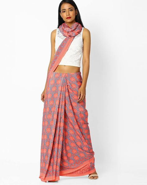 Floral Print Saree With Contrast Border By Majestic Silk ( Blue )