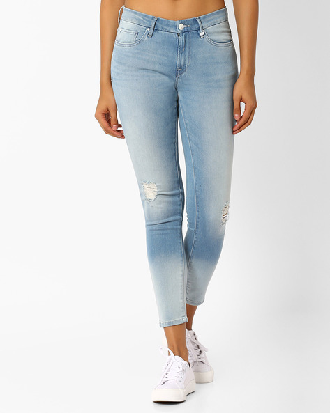 Cropped Skinny Jeans By Lee ( Lightblue )