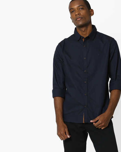 Oxford Shirt With Suede Placket By UNITED COLORS OF BENETTON ( Navyblue )