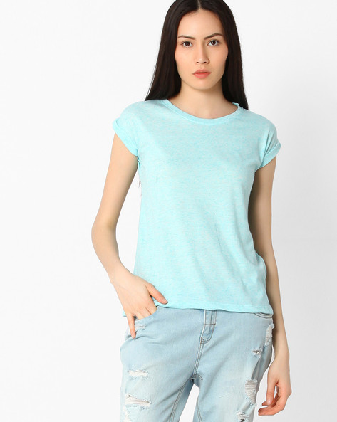 T-shirt With Extended Cap Sleeves By Pepe Jeans ( Blue )