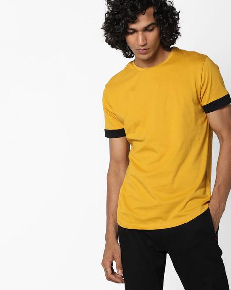 Crew-Neck T-shirt With Curved Hemline By AJIO ( Mustard )