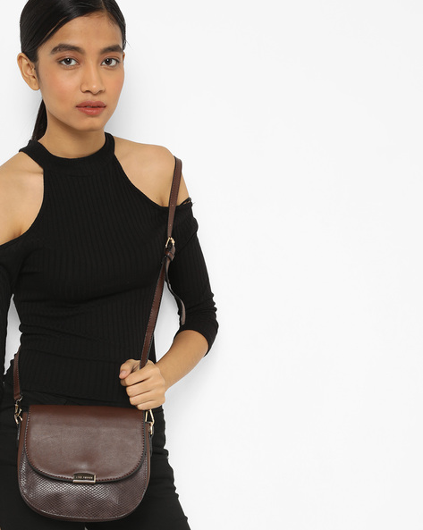 Textured Sling Bag With Detachable Strap By Lino Perros ( Brown )