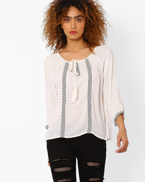 Blouse Top With Front Tie-Up By FIG ( White )