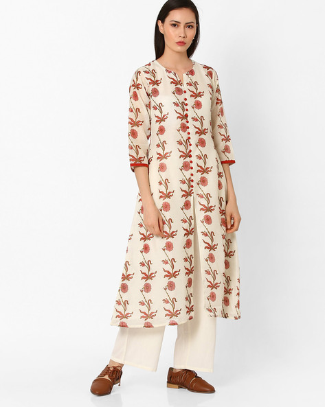 Floral Print Kurta With Front Slit By Shakumbhari ( Pink )