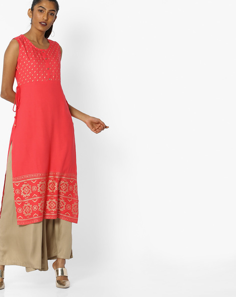 Foil Print Kurta With Side Tie-Up By AVAASA MIX N' MATCH ( Coral )