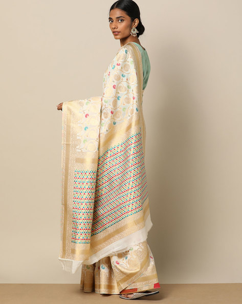 Banarasi Silk Brocade Jaal Saree By Pretty Woman ( Offwhite )