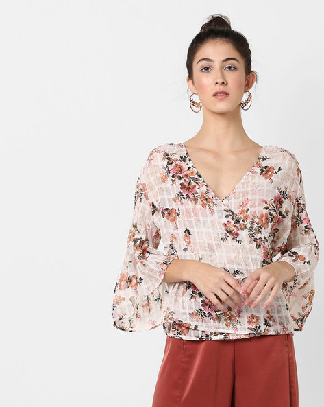 Floral Print Top With Bell Sleeves By Femella ( White )