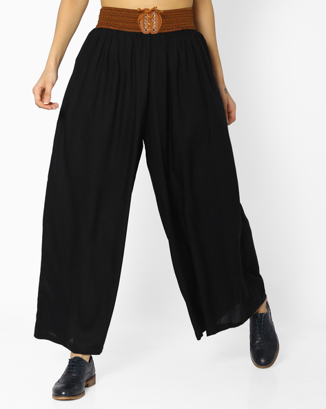Palazzos With Elasticated Waist By FUSION ( Black )
