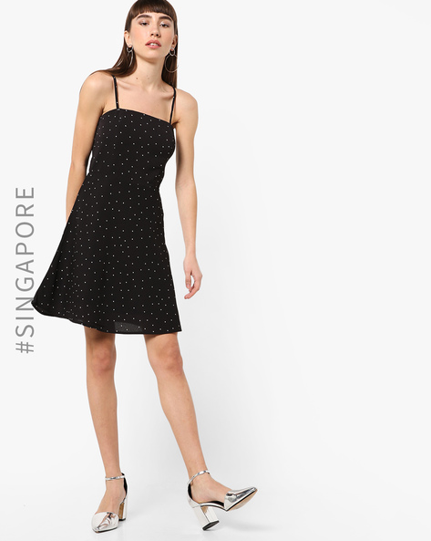 Printed Strappy Fit & Flare Dress By MDS ( Black )