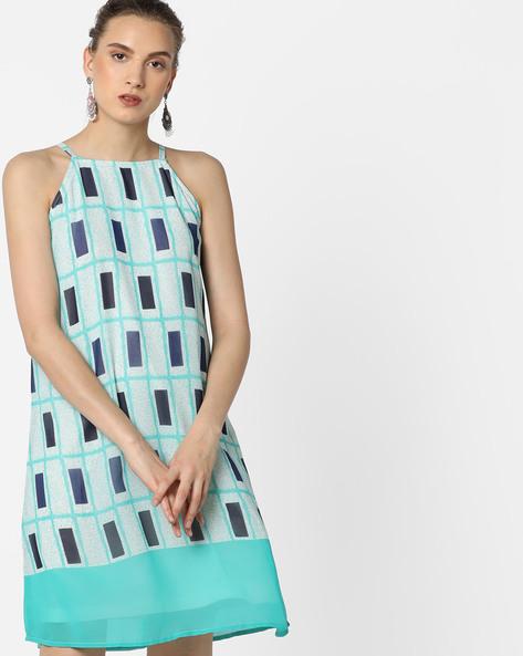 Geometric Print Strappy Shift Dress By AJIO ( Blue )