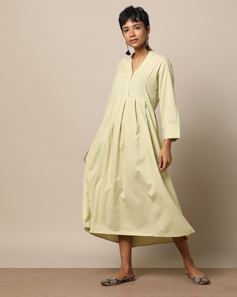 Pleated Cotton Dress With Front Placket By Seasons ( Lightgreen )