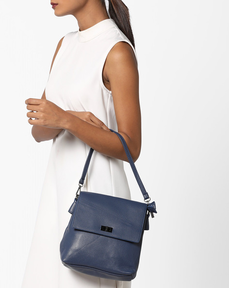 Textured Sling Bag With Flat Closure By Lino Perros ( Blue )