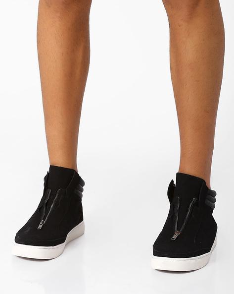 Mid-Top Sneakers With Zip Fastening By AJIO ( Black )