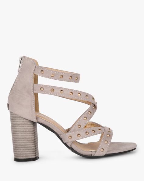 Studded Strappy Block-Heeled Sandals By MFT Couture ( Grey )