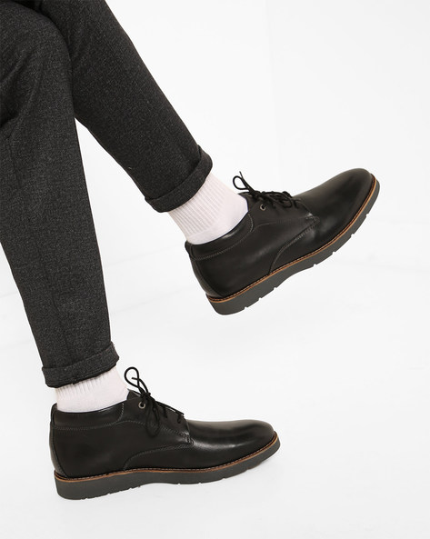 Mid-Top Lace-Up Shoes By CLARKS ( Black )