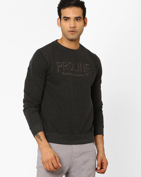 Crew-Neck Sweatshirt With Embroidery By PROLINE ( Charcoal )