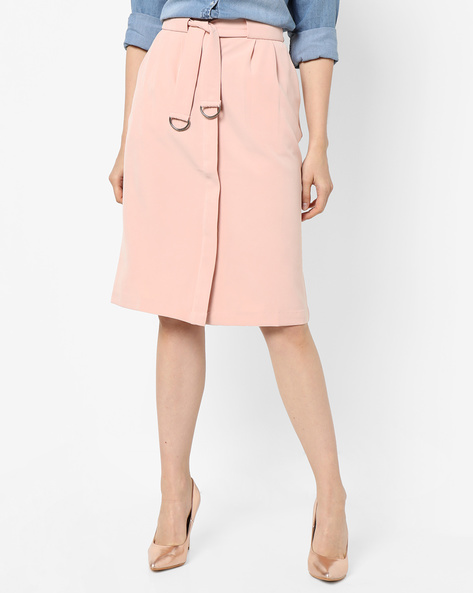 Front-Open Skirt With Waist Tie-Up By Project Eve WW Work ( Peach )