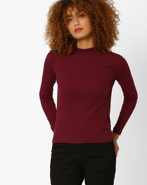 High-Neck Ribbed T-shirt By Honey By Pantaloons ( Purple )