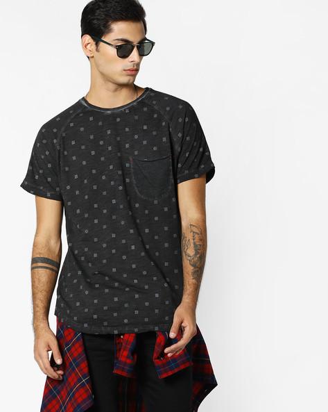 Printed T-shirt With Raglan Sleeves By RINGSPUN ( Black )