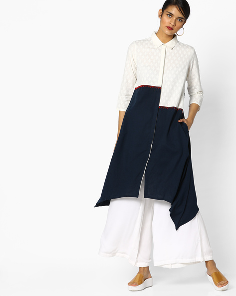 Colourblock Shirt Tunic With Pockets By Project Eve IW Fusion ( Indigo )