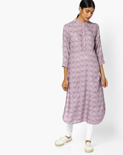 Printed Cotton Kurta With Mandarin Collar By Sassafras ( Purple )