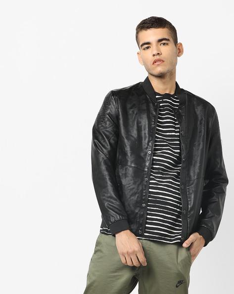 Printed Slim Fit Biker Jacket By The Indian Garage Co ( Black )