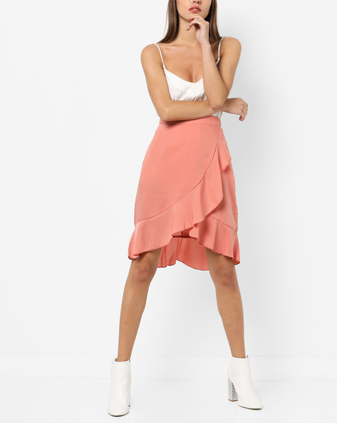 High-Waist Skirt With Tulip Hem By AJIO ( Pink )