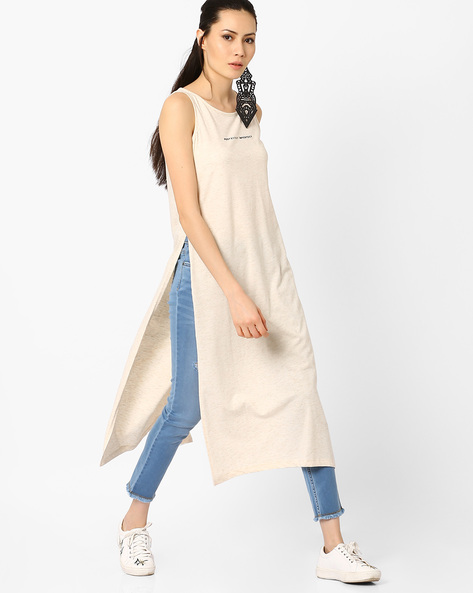 Knit Maxi Top With Side Slits By AJIO ( White )