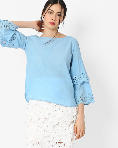 Top With Exaggerated Ruffled Sleeves By AJIO ( Lightblue )