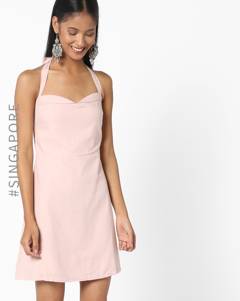 A-line Dress With Halter Neck By MDS ( Blush )