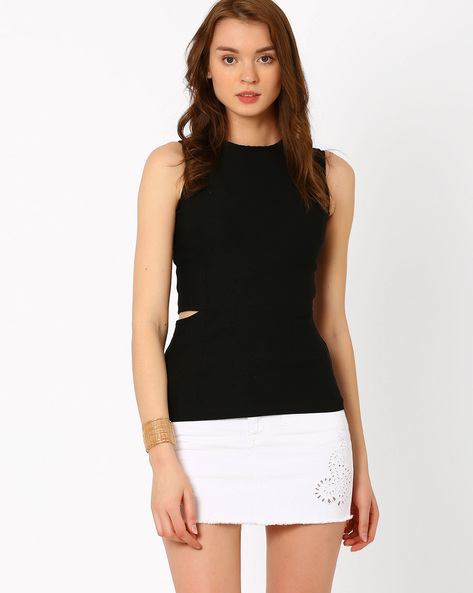 Top With Cut Out Detail By RIDRESS ( Black )