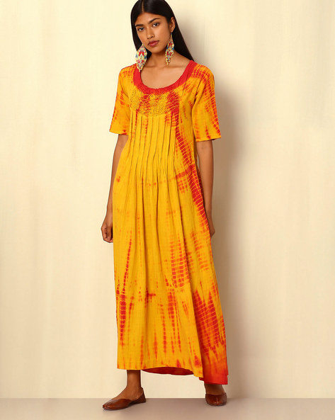 Tie-and-Dye Cotton Silk Dress By Sanyogini ( Yellow )