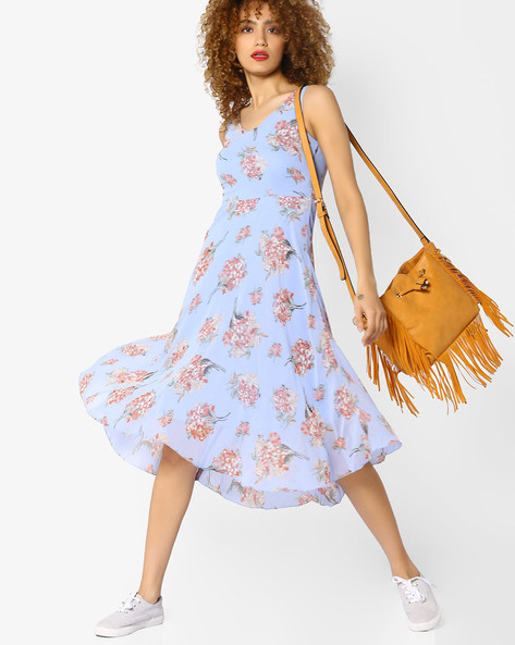 Floral Print Fit & Flare Dress By CODE By Lifestyle ( Blue )