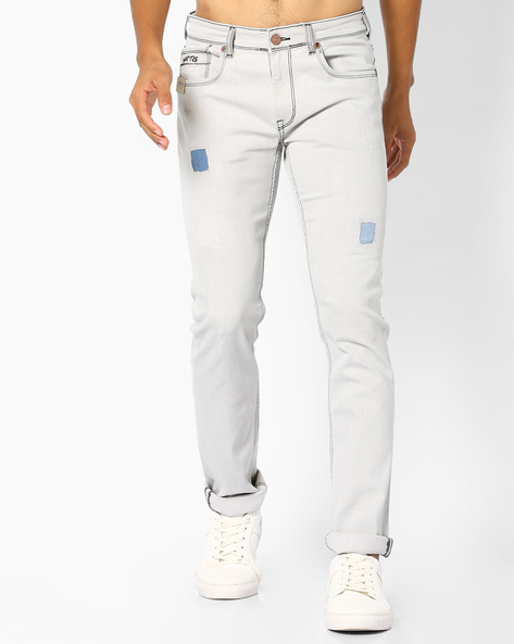 Slim Fit Jeans With Contrast Patchwork By Pepe Jeans ( Grey )