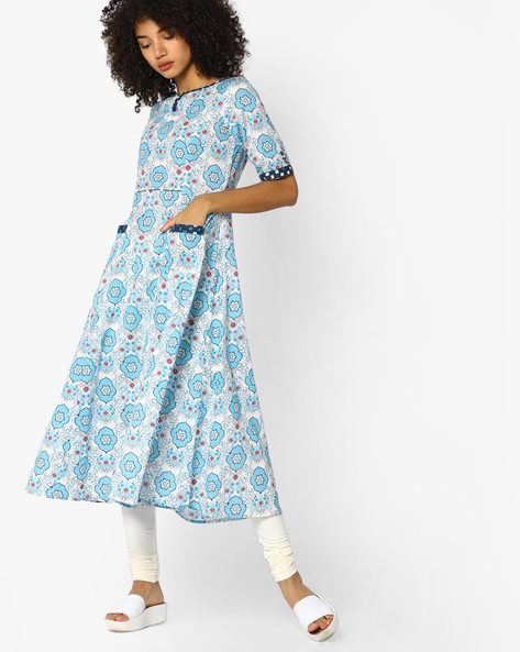 Floral Print A-line Dress With Pockets By AJIO ( Blue )
