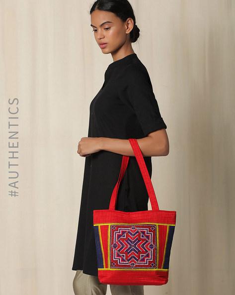Kutch Jat Garasiya Hand Embroidery Handbag By Indie Picks ( Fuchsia )