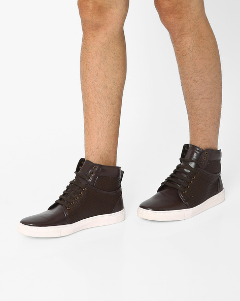 Panelled High-Top Sneakers By AJIO ( Brown )
