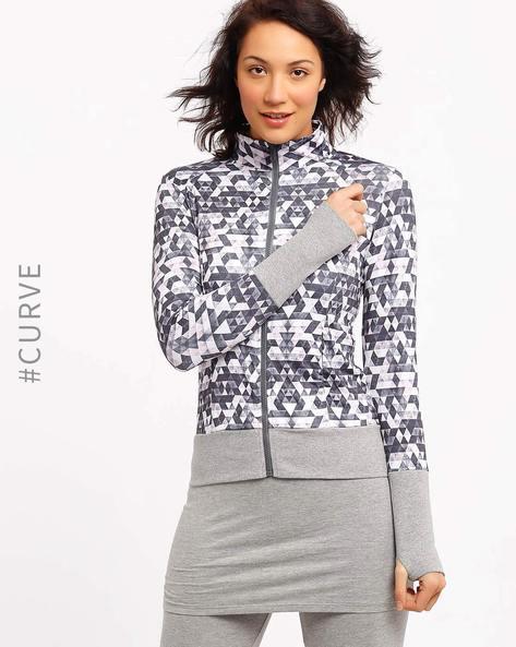 Printed Sweatshirt With Thumbhole Cuffs By AJIO ( Grey )