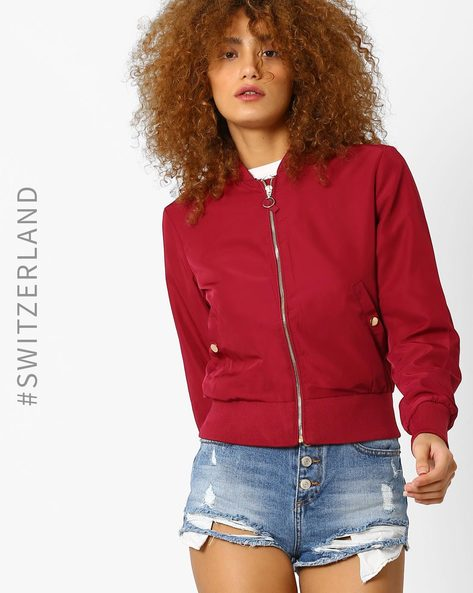 Woven Bomber Jacket With Zipper By TALLY WEiJL ( Red )
