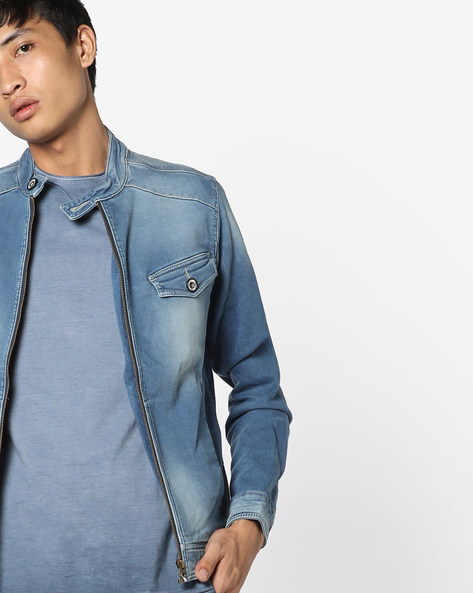 Denim Jacket With Band Collar By FLYING MACHINE ( Assorted ) - 440719969002