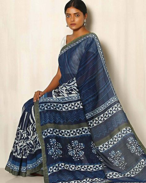 Dabu Handblock Print Indigo Chanderi Saree With Ghicha Border By Indie Picks ( Indigo ) - 460050665001