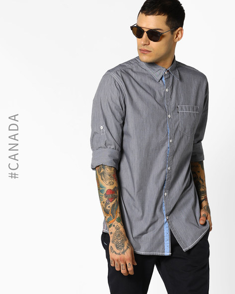 Semi Fit Shirt With Patch Pocket By Point Zero ( Black )
