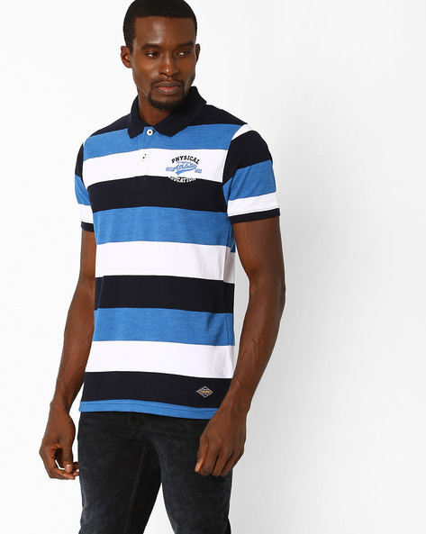 Regular Fit Striped Polo T-shirt By TEAM SPIRIT ( Blue )