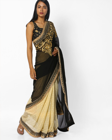 Embellished Half-and-Half Saree With Contrast Border By CHHABRA 555 ( Grey )